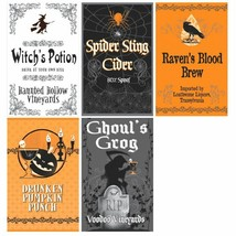 Halloween Beverage Wine Bottle Labels 5 Ct Party - $3.32