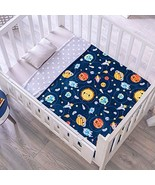 DreamPartyWorld Blue Reversible Happy Planets Baby Blanket Crib Size Sof... - $49.45