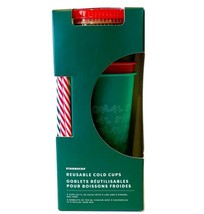 Starbucks 2019 Holiday Christmas Winter Reusable Cold Cups 5 Pack w/ Straws NEW - $24.19