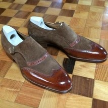 Handmade Men's Brown Leather Chocolate Brown Suede Monk Strap Shoes image 1