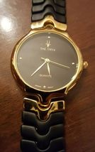 VINTAGE THE ORYX QUARTZ GOLD & BLACK FLEX BAND WRIST WATCH JAPANESE MOVEMENT image 5