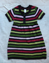 GYMBOREE Dress Girls Sz 8 Green Pink Brown Striped Knit SS Faux Buttons ... - $23.75