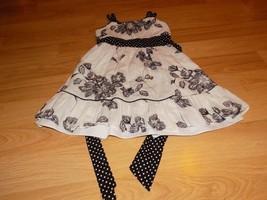 Size 8 Rare Editions Black White Floral Polka Dot Flower Dress EUC - $22.00