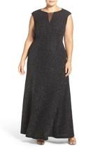 ELIZA J Cap Sleeve Mesh Inset Glitter Knit Gown size 18W Retail $198 #PL... - $103.55