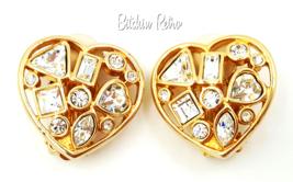 Vintage Swarovski Heart Earrings Multi Sized Crystals  Bridal Bling - $59.00