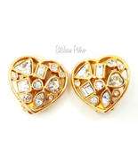Vintage Swarovski Heart Earrings Multi Sized Crystals  Bridal Bling - $59.00