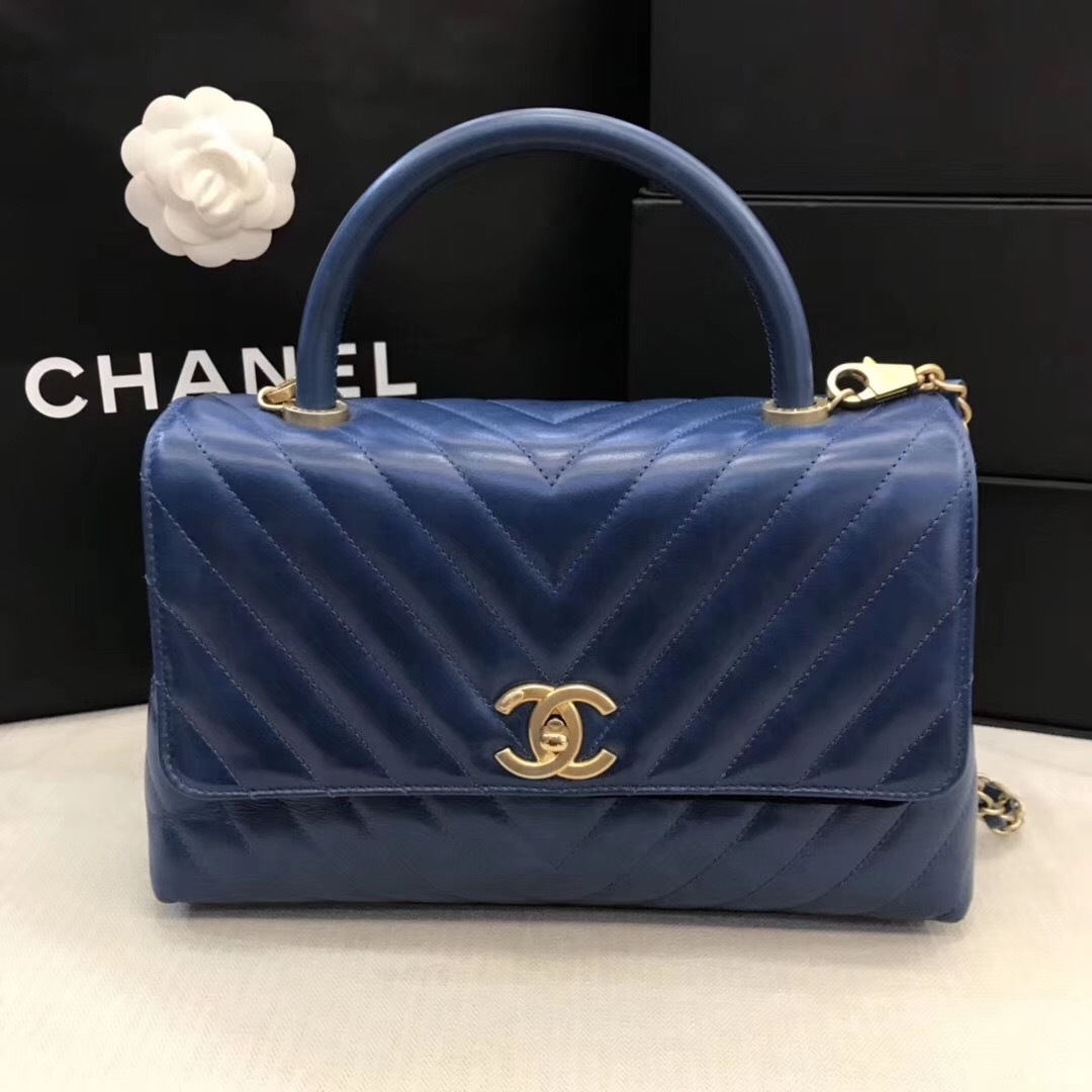 100% AUTHENTIC CHANEL CHEVRON QUILTED ROYAL BLUE MEDIUM COCO HANDLE BAG GHW