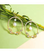 Fresh Enamel Branch Circle Preal Pendant Drop Earrings For Women - $20.02
