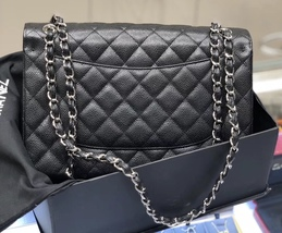 BRAND NEW AUTHENTIC CHANEL BLACK CAVIAR QUILTED JUMBO DOUBLE FLAP BAG SHW image 4