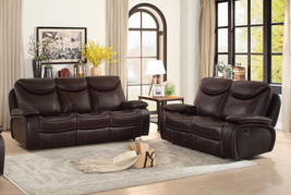 Modern Living Family Room Brown Leather Reclining Sofa Couch & Loveseat ... - $38.147,77 MXN