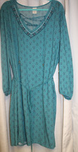 New Womens Plus Size 2X 20W/22W Teal Green Lace Up V Neck Shift Dress - $18.37