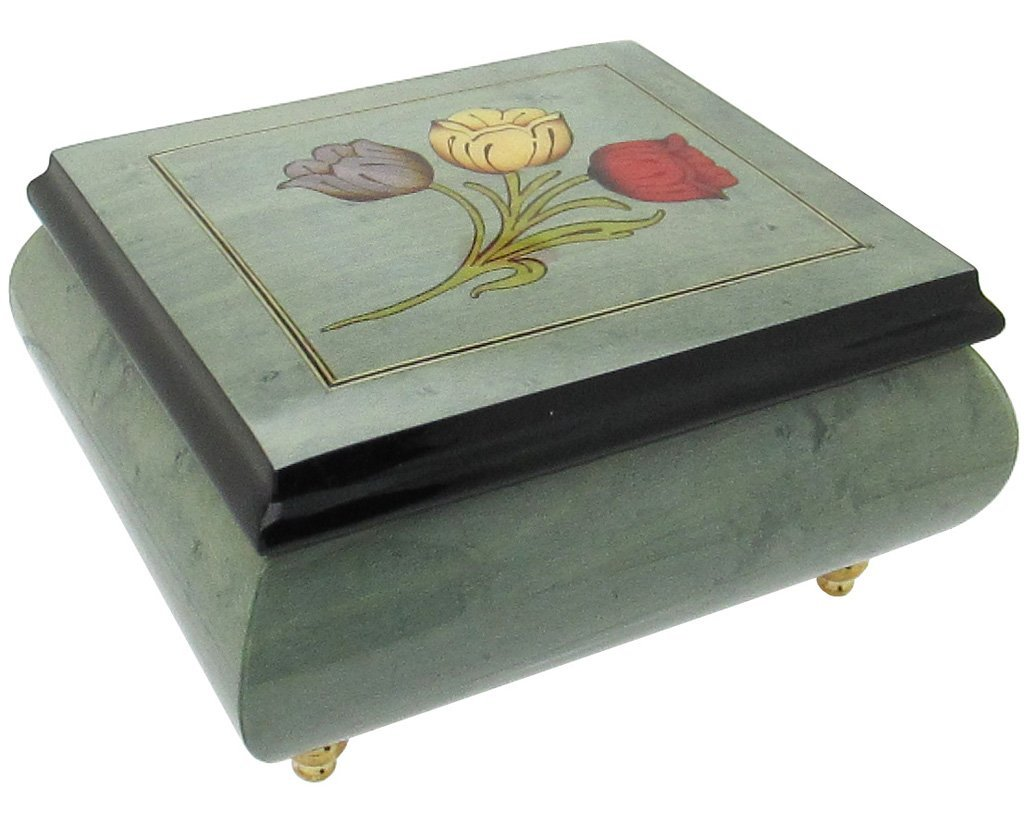 "Primary image for Italian Music Box, 5"", Light Blue with Tulips Inlay"