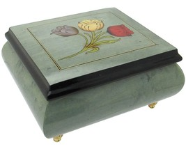 "Italian Music Box, 5"", Light Blue with Tulips Inlay - $154.95"