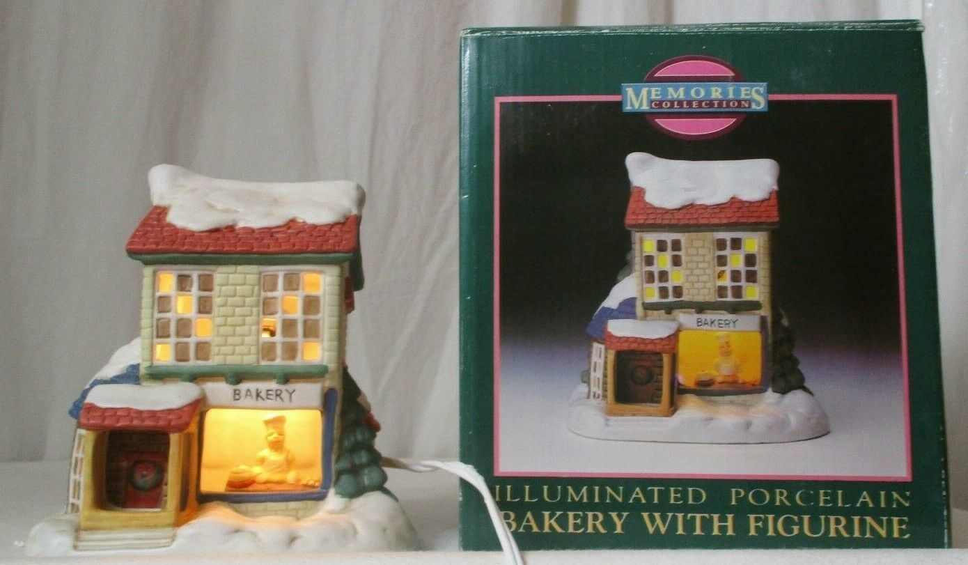 Primary image for MEMORIES COLLECTION ILLUMINATED PORCELAIN Bakery with Figurine