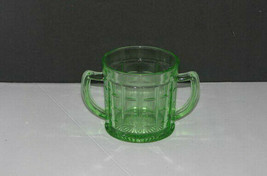 Vintage Hazel Atlas Green Depression Glass Colonial Block Sugar Bowl - $19.78