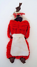 "Black Americana Primitive Cloth Doll 9"" Rag Doll Red Bandana Woven Fabric - $17.79"