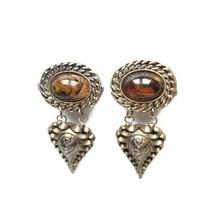 Vintage Gold Tone Drop Dangle Earrings Faux Tigers Eye Stone Chunky Stat... - $22.76