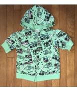 target xhilaration green radio music print  zip up hoodie jacket 7 - 8 girl - $4.94