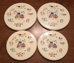 "Mid Century Enamel Set of 4 ""Country Farm Animals"" Stove Burner Covers V... - $29.50"