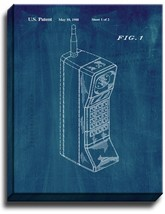 Portable Telephone Patent Print Midnight Blue on Canvas - $39.95+