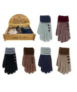 You Pick Britt's Knits Two Tone Ultra Soft Winter Gloves With Button Acc... - $9.99