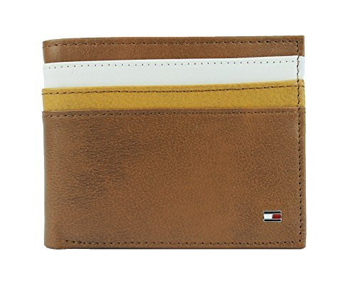 New Tommy Hilfiger Men's Leather Double Billfold Passcase Wallet & Valet (Honey