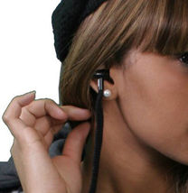 Insound Womens Black Flannel Tunic Shirt Hoodie Build in Ear buds Headphones NWT image 4