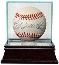 Eddie Mathews signed Official National League Baseball w/ Glass Case min... - $119.95