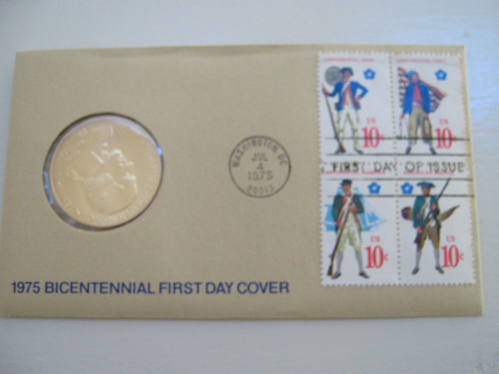 1975 Bicentennial First Day Cover Commemorative Stamp and Medal with Paul Revere - $12.00