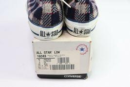 Vintage 90s Nuevo Converse Todo Estrella bajo Hombre 5 con 7 Lana Tartán Zapatos image 3