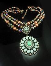 Chunky pearl necklace / 5 strand choker / vintage toggle clasp / green W... - $165.00