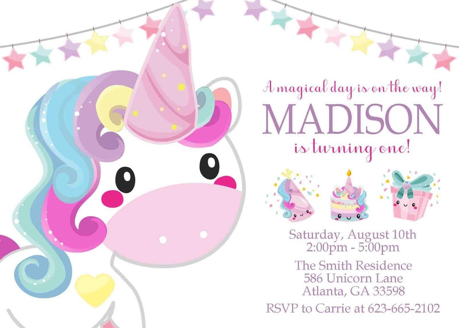 Unicorn Invitations Birthday 1st And 15 Similar Items S L1600
