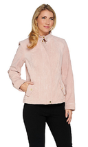 Isaac Mizrahi Live! Suede Flight Jacket, Blush, Size 12, MSRP $164 - $98.99