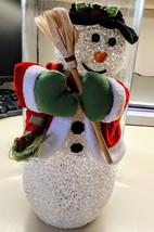 Vintage Christmas Decor Chilly Sam Lighted Dancing Snowman Santa Avon Figurine - $39.99