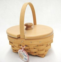 Longaberger 1999 Hope Basket w Lid Handle Tie On Protector American Canc... - $22.76