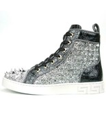 Encore by Fiesso Black Silver High Top Sneakers with Glitter and Spikes ... - $159.99