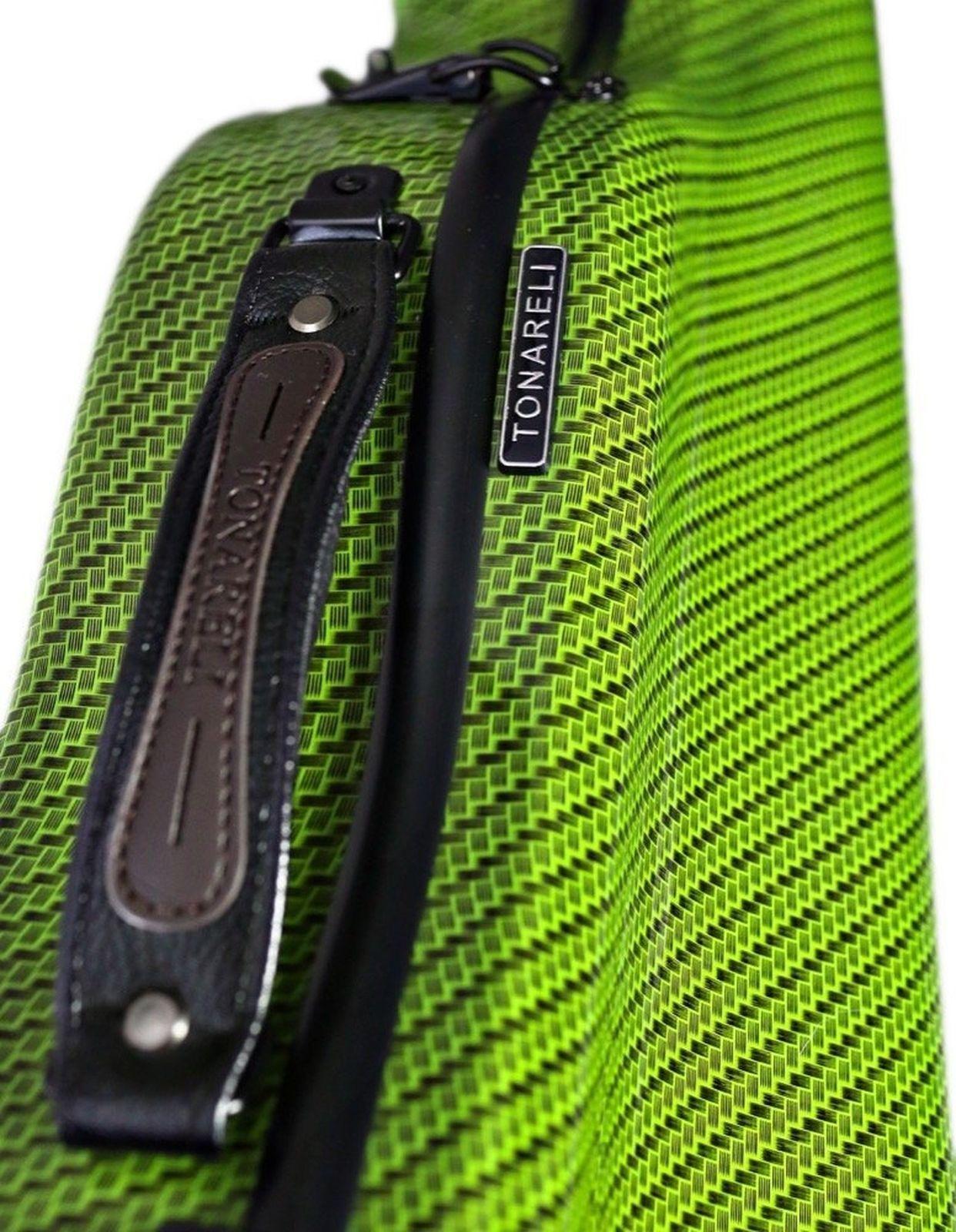 Tonareli Cello-shaped Fiberglass Viola Case w/Wheels - Special Edition Green ...