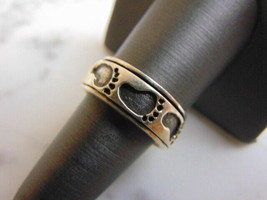 Vintage Estate Sterling Silver Bare Foot Spinner Meditation Ring 7.5g E3519 - $34.99