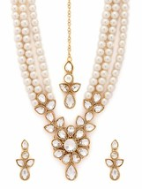 Kundan Studded  with Pearls Necklace Set with Maang Tikka for Women p298 - $19.79