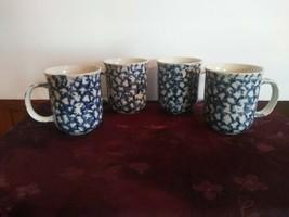 Set Of 4 Blue Folk Craft Sponge Hearts By Tienshan Mugs Coffee/tea - $39.59