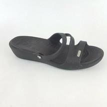 CROCS Patricia Women's 7 Black Slide Sandals OT Low Wedge - $25.23