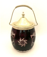"Antique Biscuit Jar Bohemian Glass Deep Red Cut to Clear 9.5"" Tall to Ha... - $113.85"