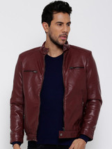 New Men's Genuine Lambskin Leather Jacket  Slim fit Biker Motorcycle jacket-G33