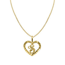 14k Yellow Gold Diamond-cut Heart-shaped Initial Letter 'S' Pendant  Rol... - $184.00+