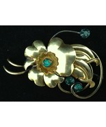 Vtg 1940s Flower Pin Brooch Green Prong Set Rhinestones Gold Plated Dime... - $19.74