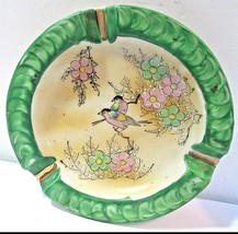 MADE IN JAPAN PAT. BIRDS FLOWERS GREEN AND BEIGE VINTAGE ASHTRAY  - $34.00