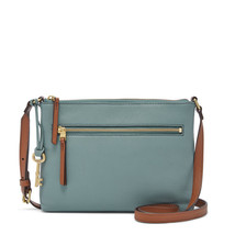 Fossil Fiona EW Steel Blue Leather/PVC Trim Zipper Closure Crossbody - $239.99