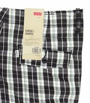 NEW LEVI'S MEN'S PREMIUM COTTON RELAXED FIT CARGO SHORTS BLACK PLAID 124630186 image 3