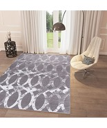 Black and White Grey Distressed Distorted Trellis Area Rug 3'3'' x 5' Ca... - $59.79