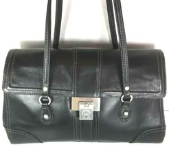 Etienne Aigner Large Black Structured Leather Multi Compartment Shoulder... - $58.19